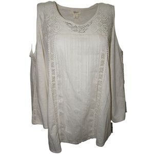 Style Co. Cold-Shoulder Top Warm Ivory XLarge